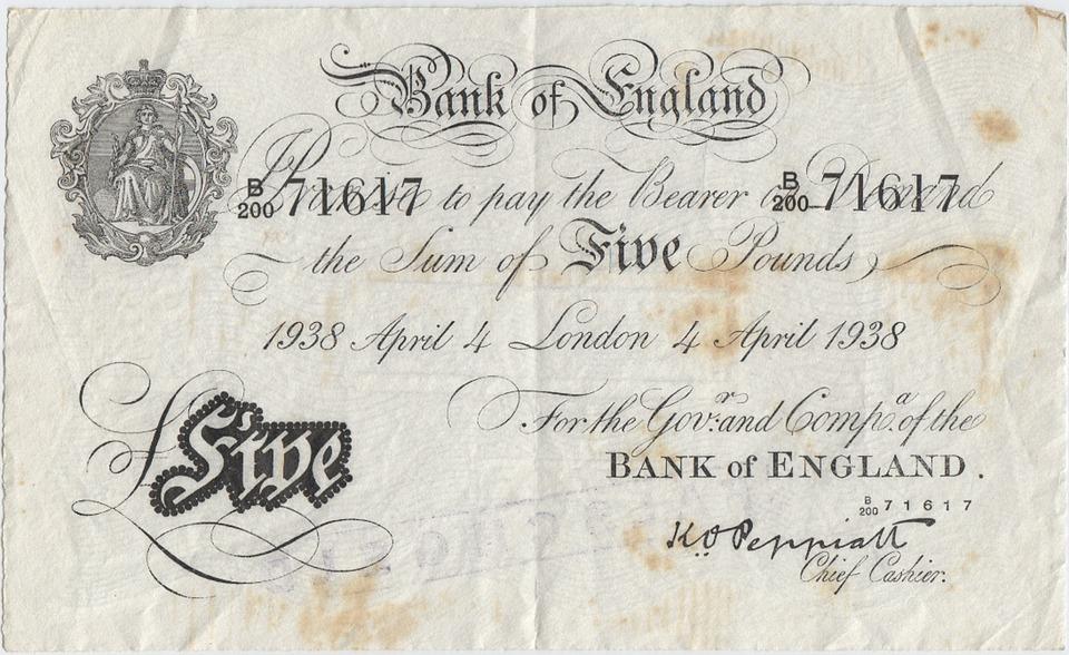 anglická bankovka