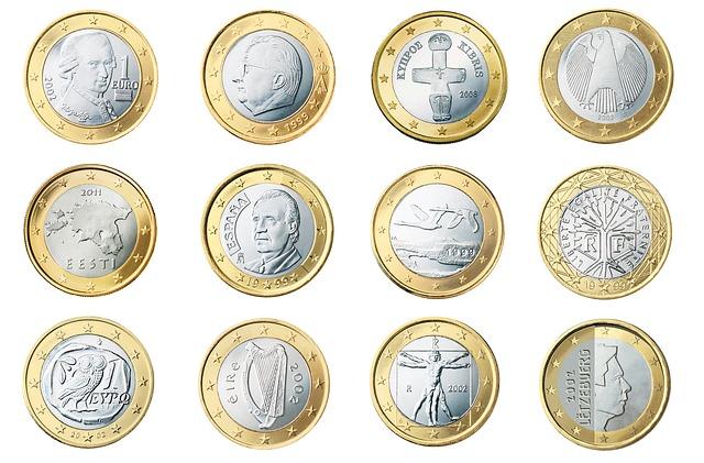 zadní strana euromincí